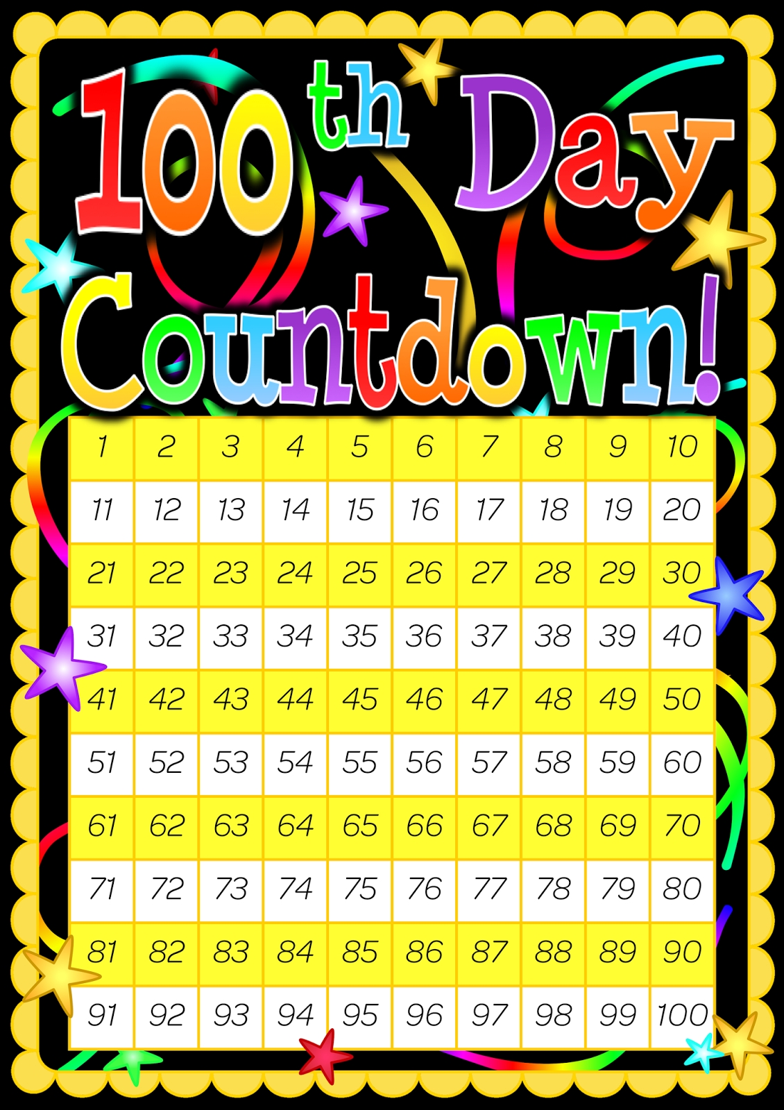 100 Day Countdown Poster. Included Is A 200 Day Countdown Poster_Countdown Calendar 100 Days