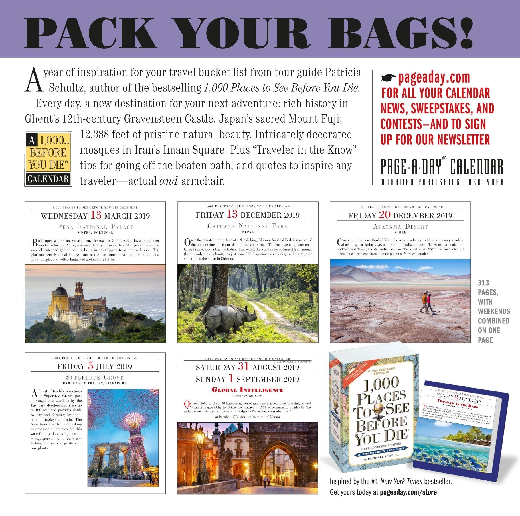 1,000 Places To See Before You Die Page-A-Day Calendar 2019 Calendar_Page A Day Calendar Printing