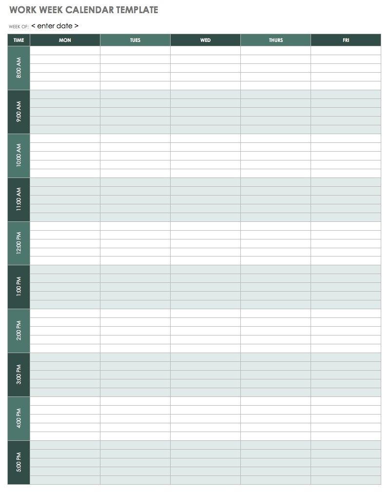 15 Free Weekly Calendar Templates | Smartsheet_4 Week Blank Calendar Printable