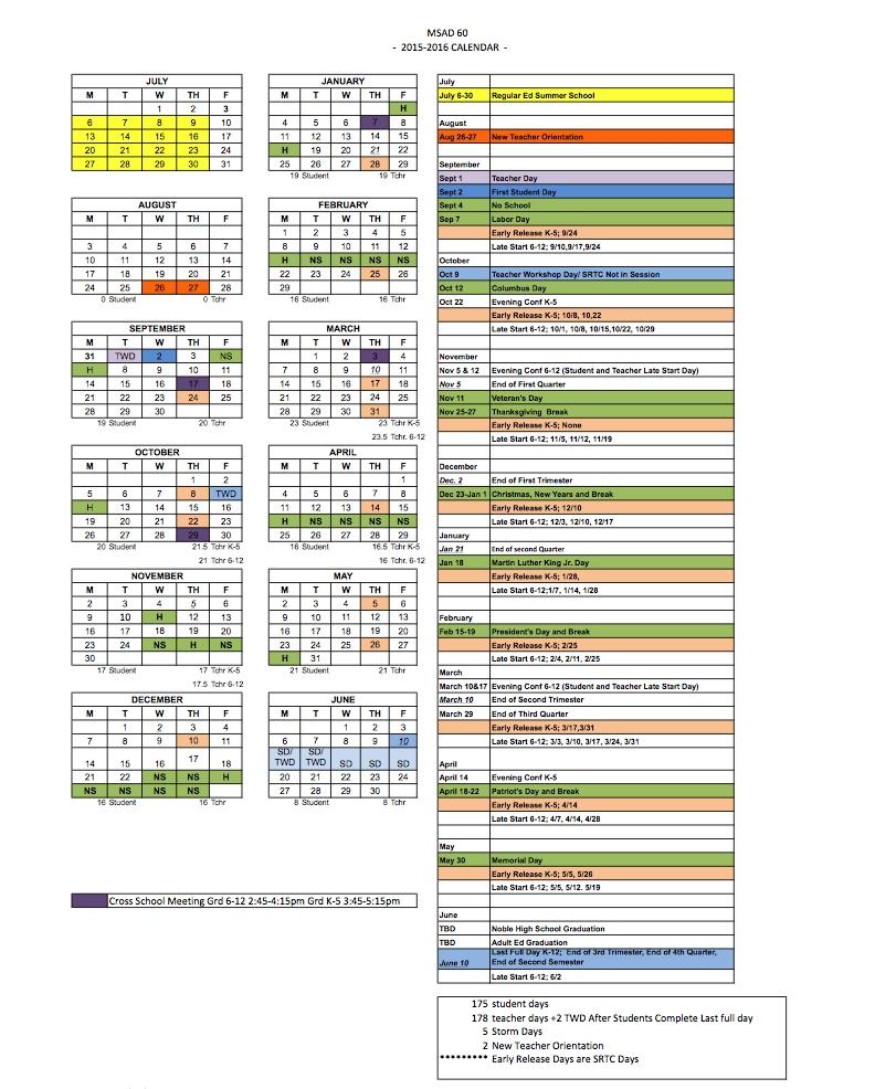 2015-16 School Year Calendar | Msad 60_Msad 6 School Calendar