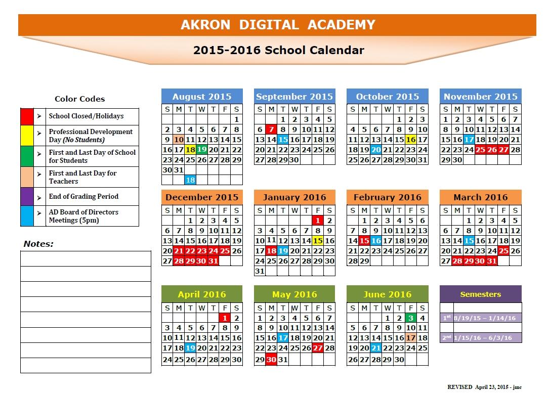 2015-2016 Ada School Calendar - Akron Digital_Ads B School Calendar