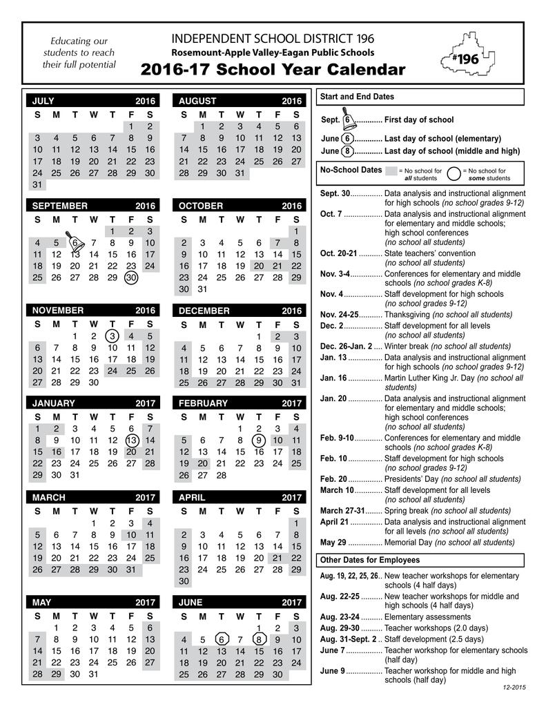 2016-17 School Year Calendar Independent School District 196_School Calendar District 196