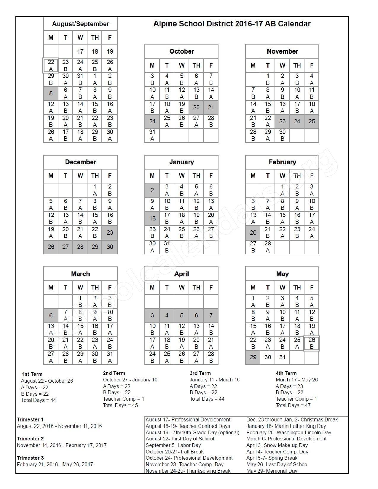 2016 - 2017 District Ab Calendar | Alpine School District – American_Calendar Alpine School District