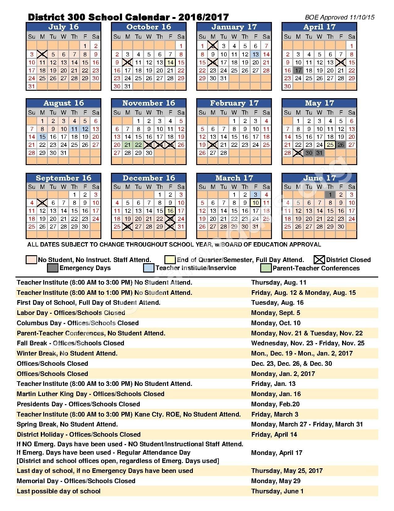 2016 - 2017 District Calendar | Community Unit School District 300_School Calendar District 300