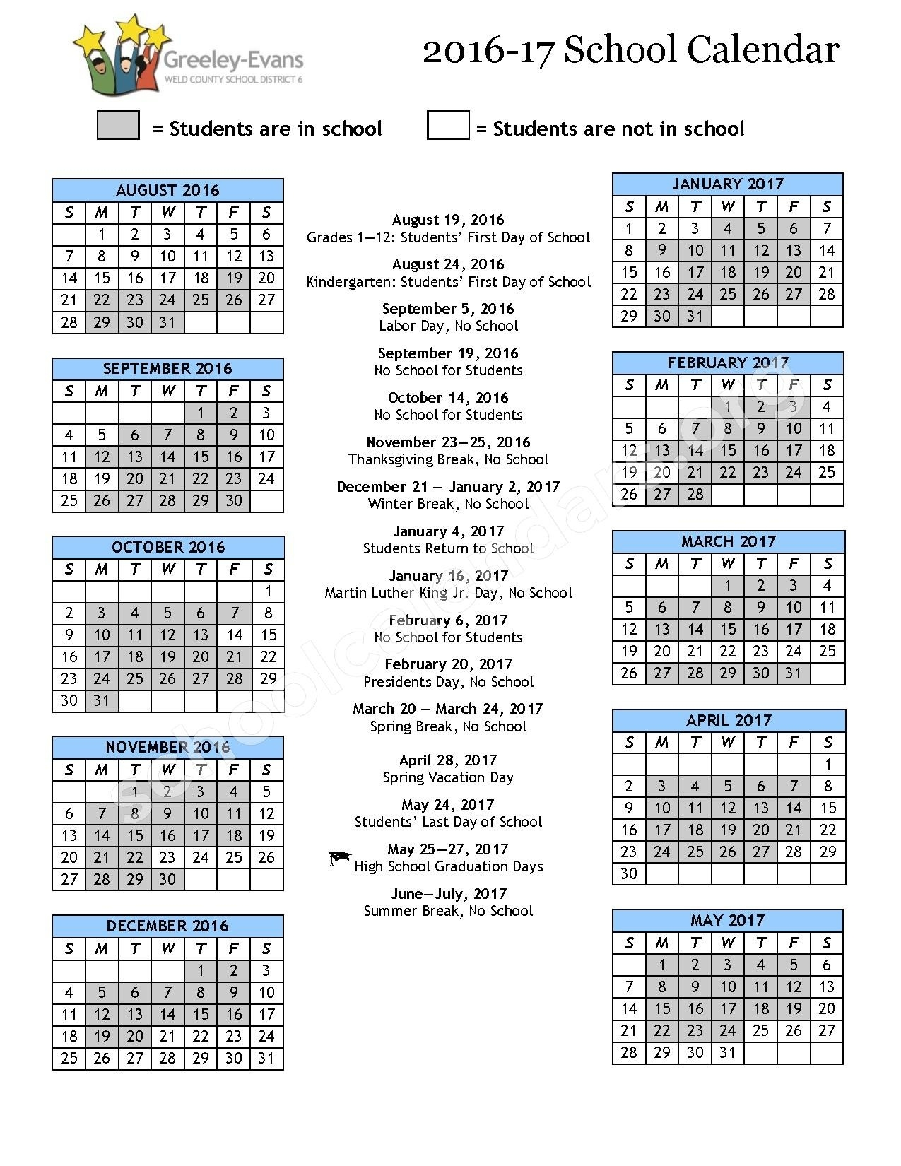 2016 - 2017 District Calendar | Greeley-Evans School District 6_District 6 School Year Calendar