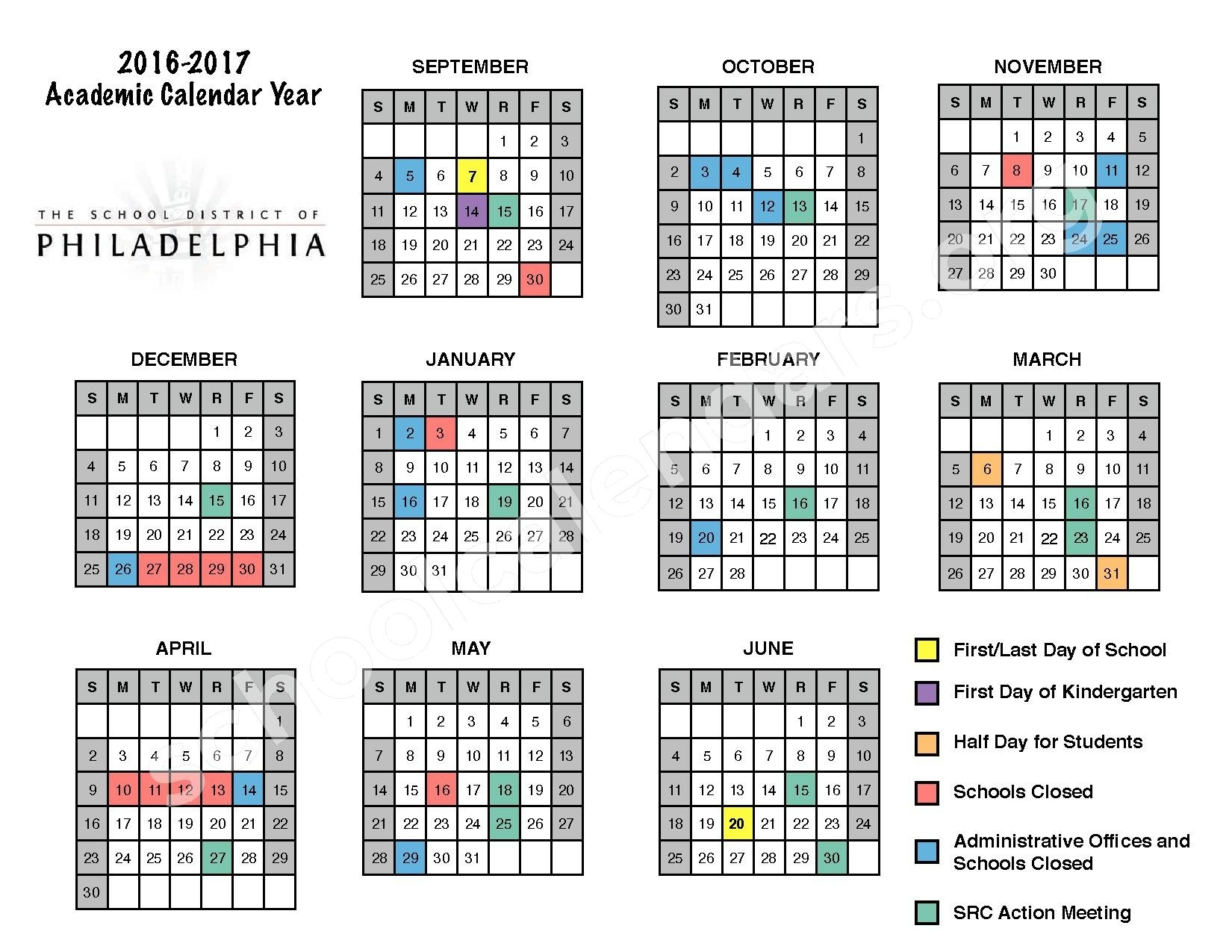 2016 - 2017 District Calendar | The School District Of Philadelphia_School Calendar In Philadelphia