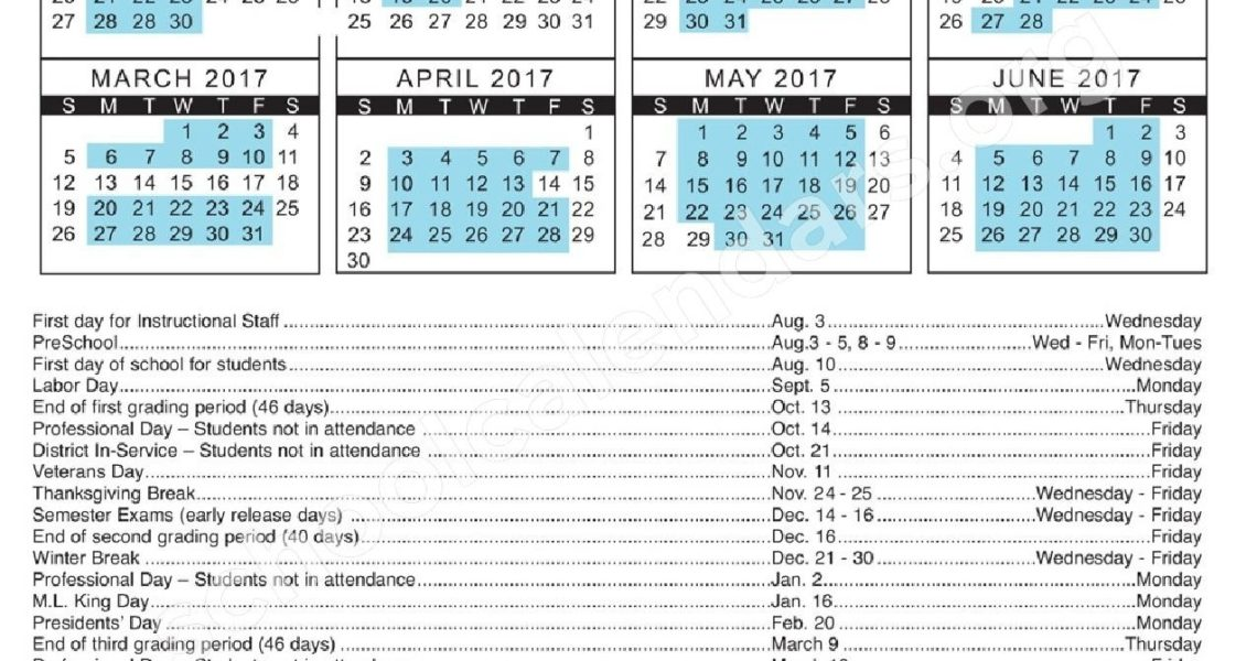 2016- 2017 Employee Calendar | Hernando County School District_School Calendar Hernando County
