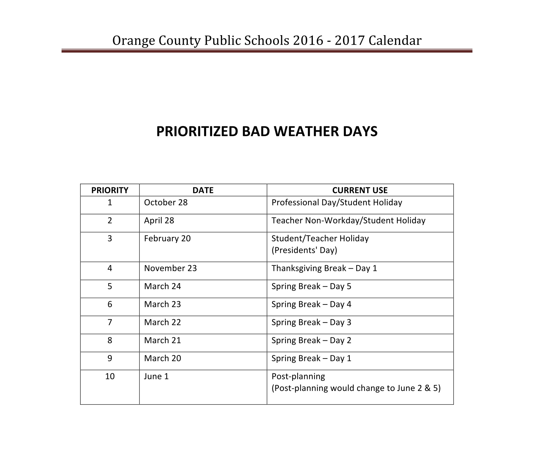 2016 2017 Ocps School Calendar 2 19 Orange County School Calendar_School Calendar Orange County