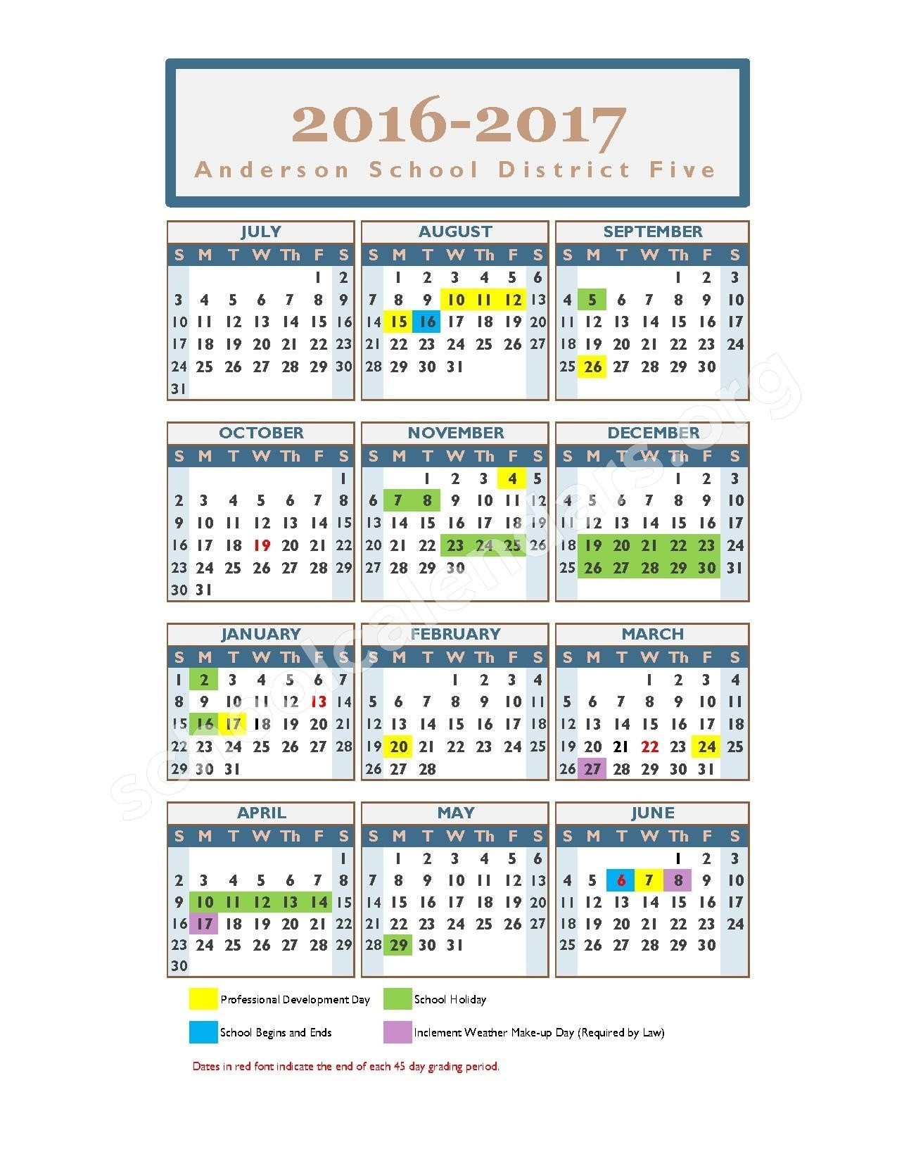 2016 - 2017 School Calendar | Anderson School District 5 – Anderson, Sc_District 5 School Calendar