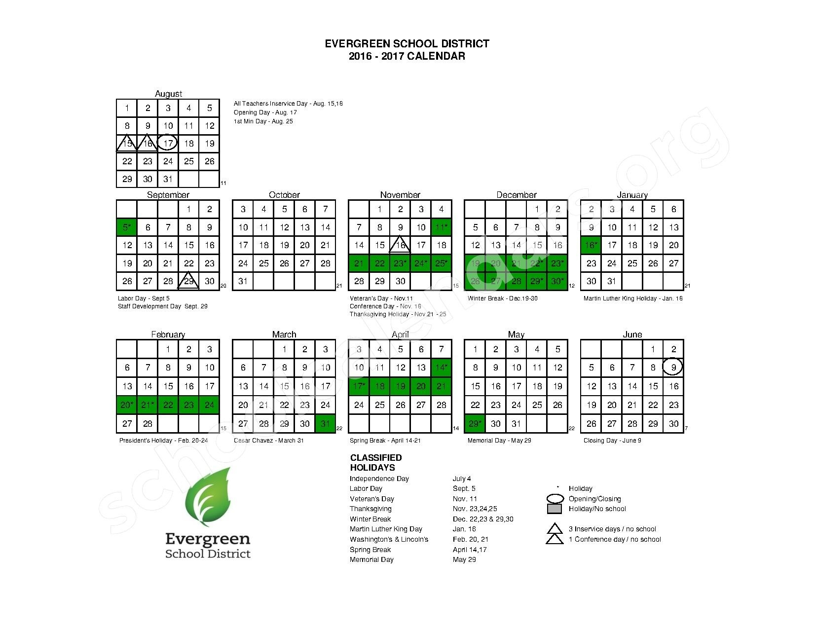 2016 - 2017 School Calendar | Evergreen School District – San Jose, Ca_Calendar Evergreen School District