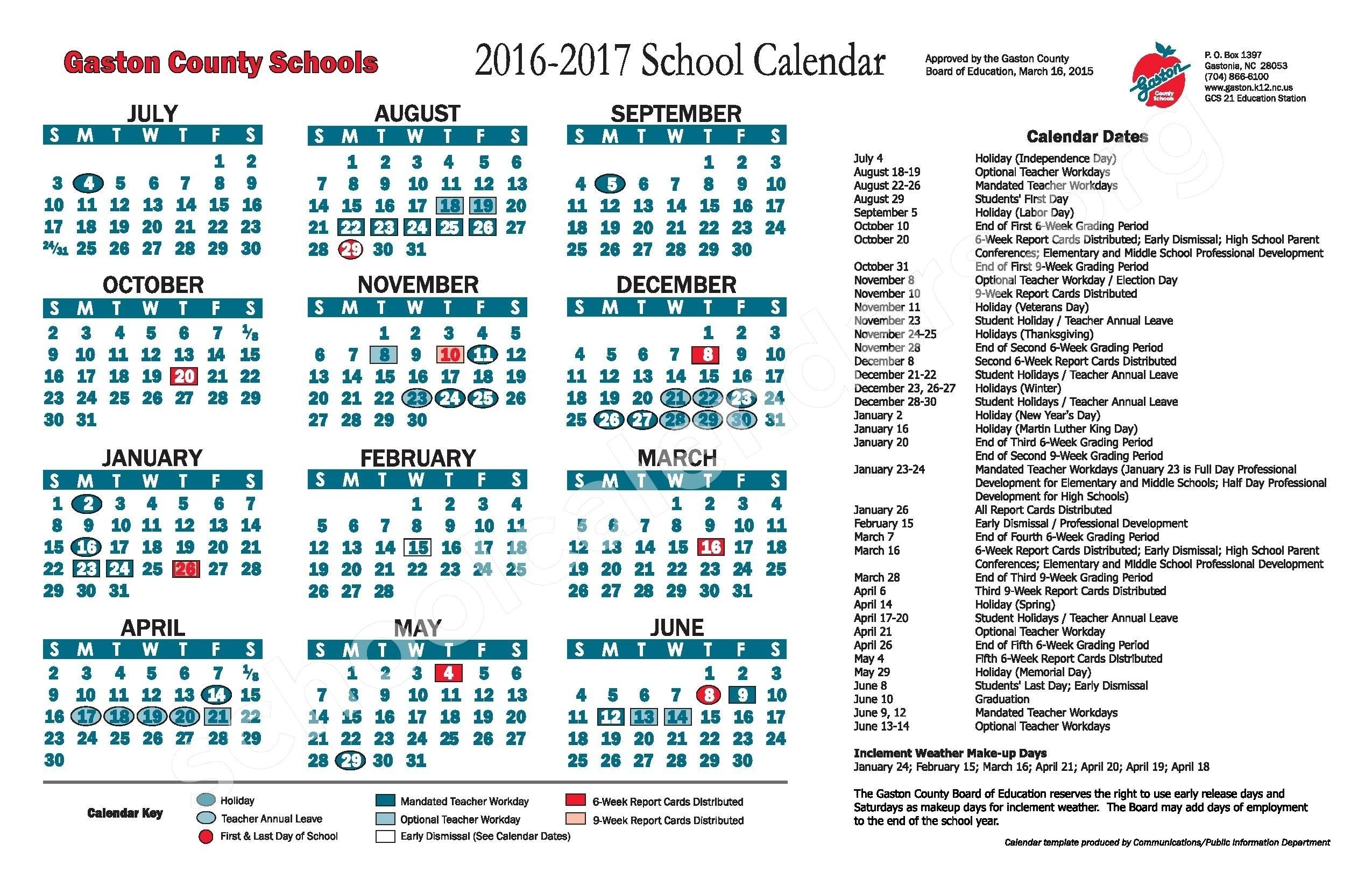 2016 2017 School Calendar Gaston County Schools Gastonia Nc | Isacl_School Calendar Gaston County