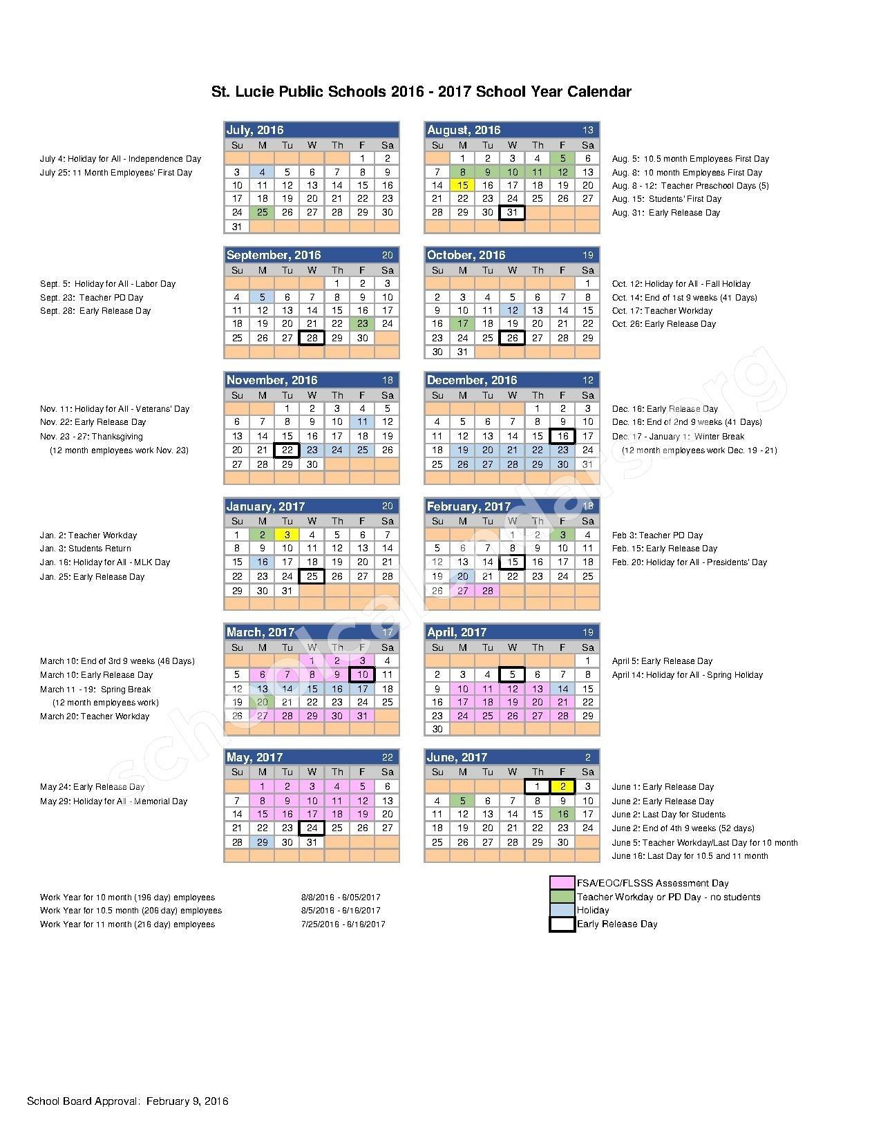 2016 - 2017 School Calendar   St. Lucie County School District_School Calendar Port St Lucie