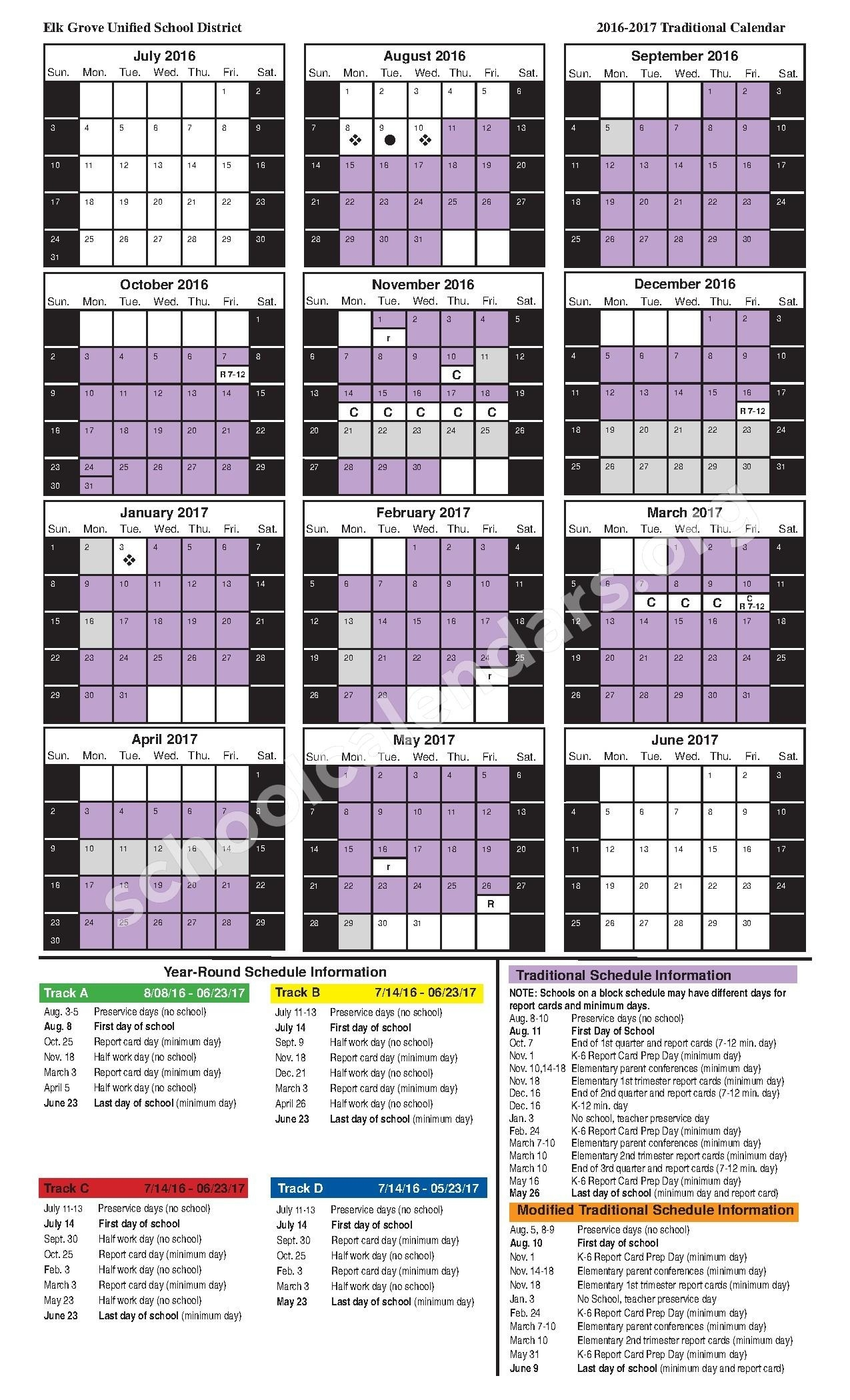 2016-2017 Traditional Calendar | Elk Grove Unified School District_School Calendar Elk Grove