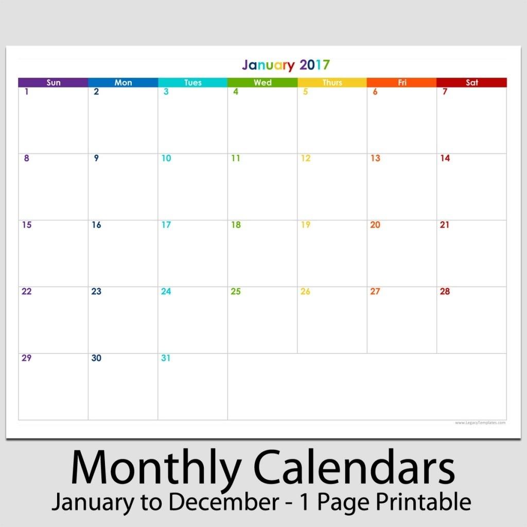 "2017 - 12 Month Landscape Calendar - 8 1/2"" X 11"" | Legacy Templates_8 X 11 Blank Calendar Template"