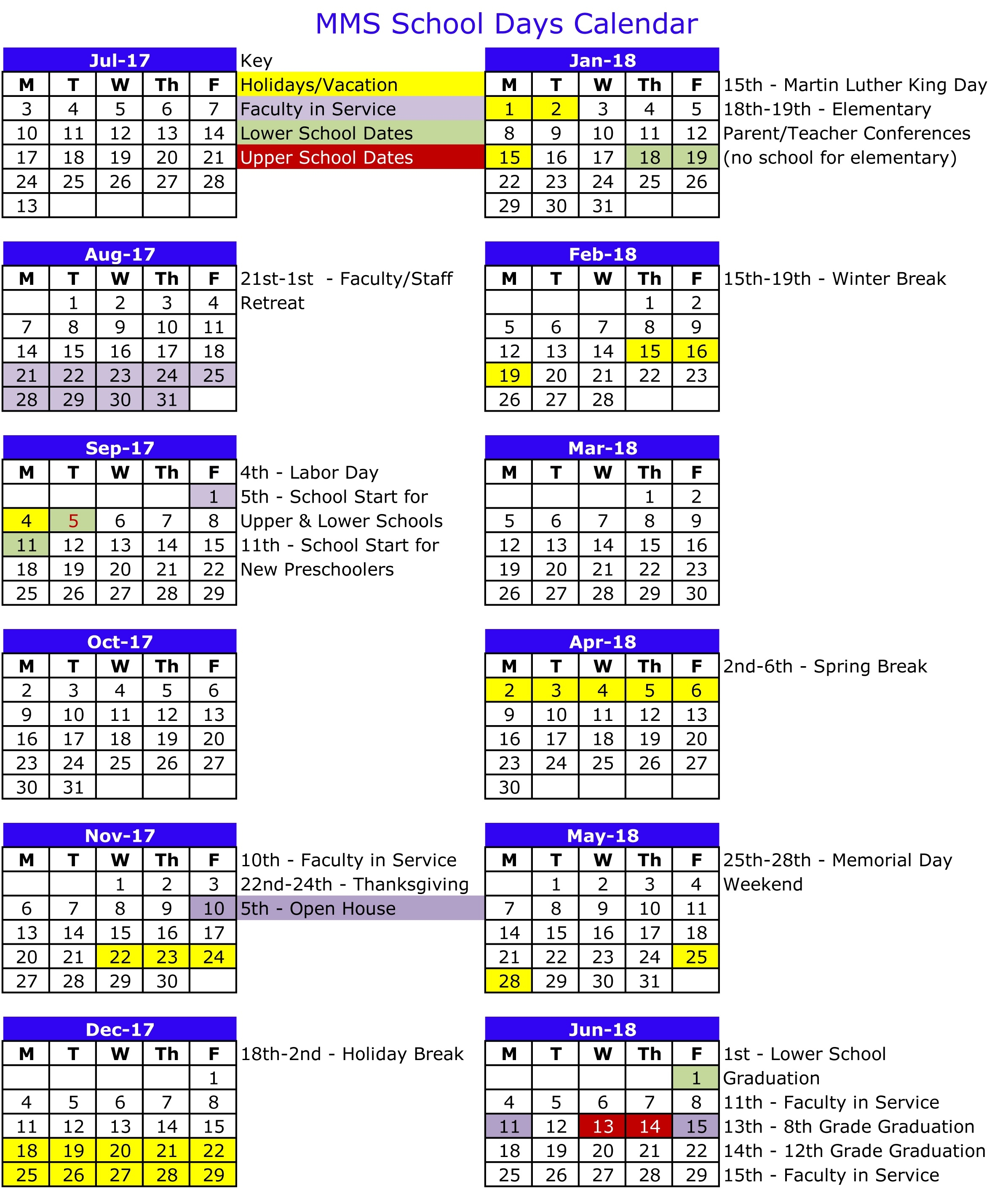 2017-18 School Days Calendar : Mount Madonna School_Calendar Of School Days