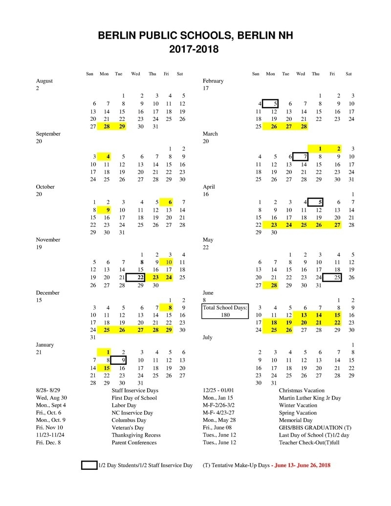 2017-2018 Approved Calendar_Sau 3 School Calendar
