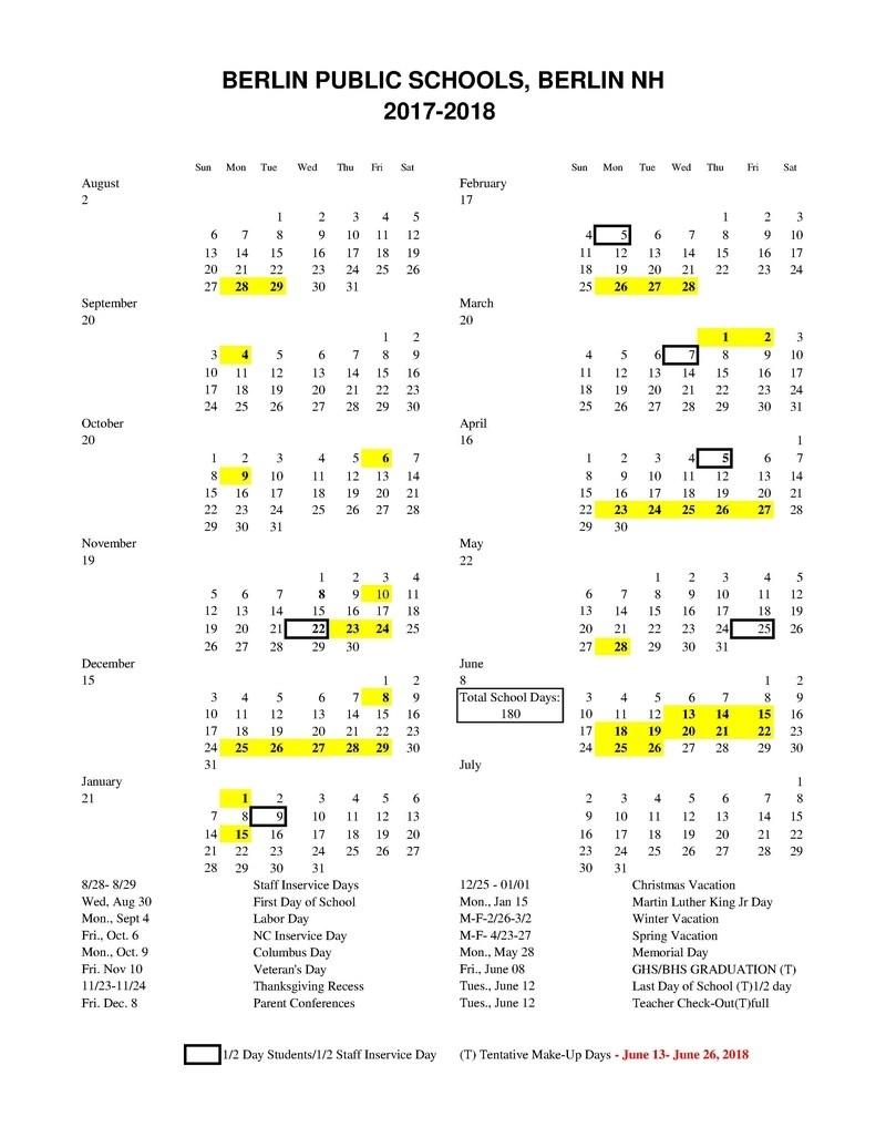 2017-2018 Approved Calendar_Sau 9 School Calendar