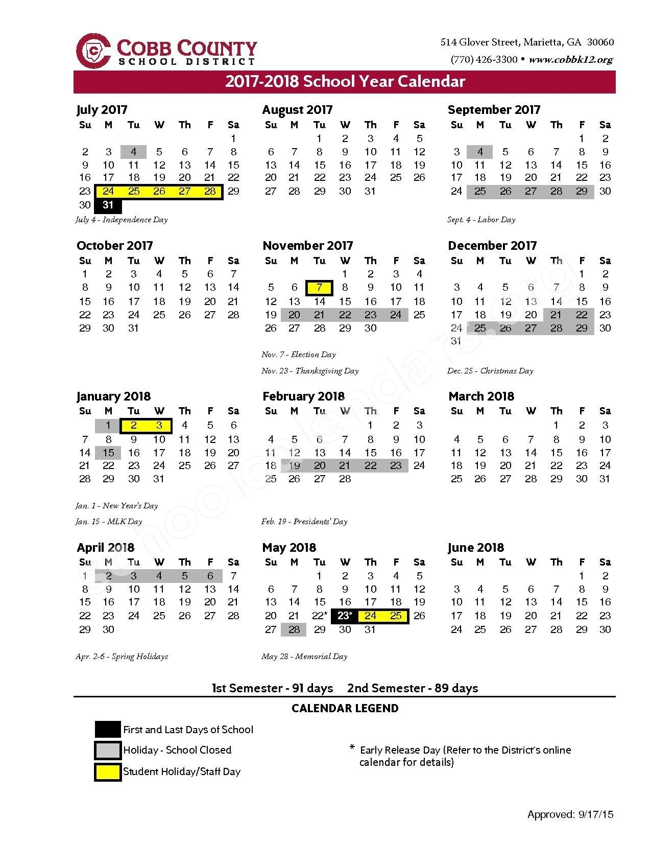 2017 - 2018 District Calendar – Cobb County School District – Page 1_T H Rogers School Calendar