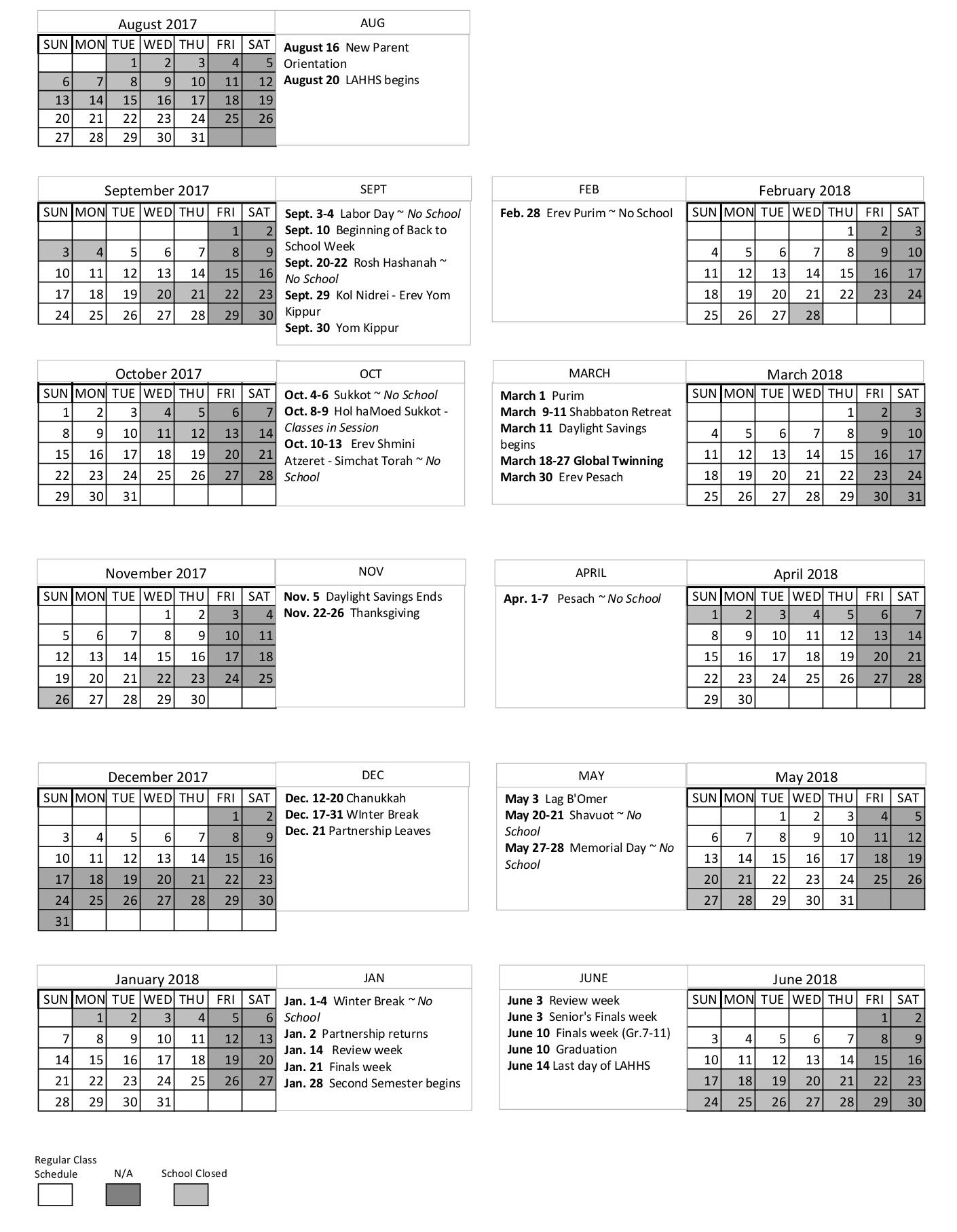 2017-2018 School Calendar - Los Angeles Hebrew High School_Calendar School Los Angeles