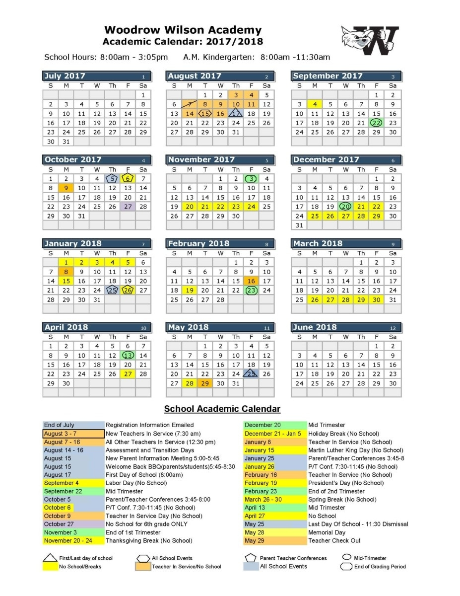 2017-2018 School Calendar - Woodrow Wilson Academy_Arvada K 8 School Calendar
