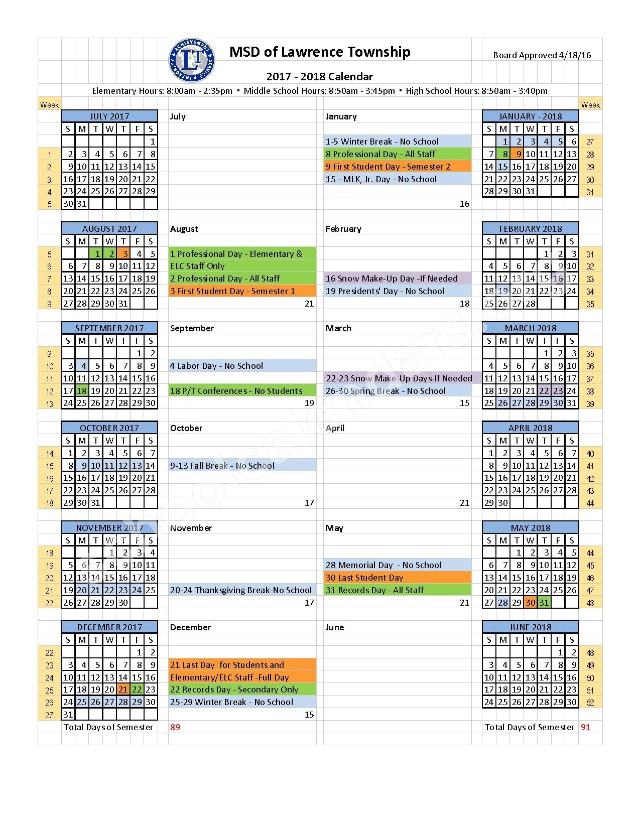 2017 - 2018 School Year Calendar | Metropolitan School District Of_School Calendar Lawrence Township