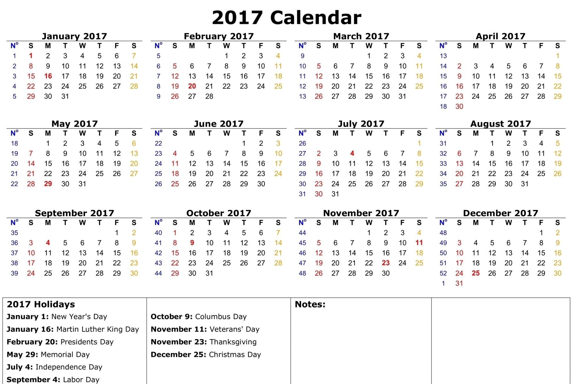 2017 Calendar With Holidays [Us, Uk, Canada] | Free Printable_Blank Calendar With Us Holidays