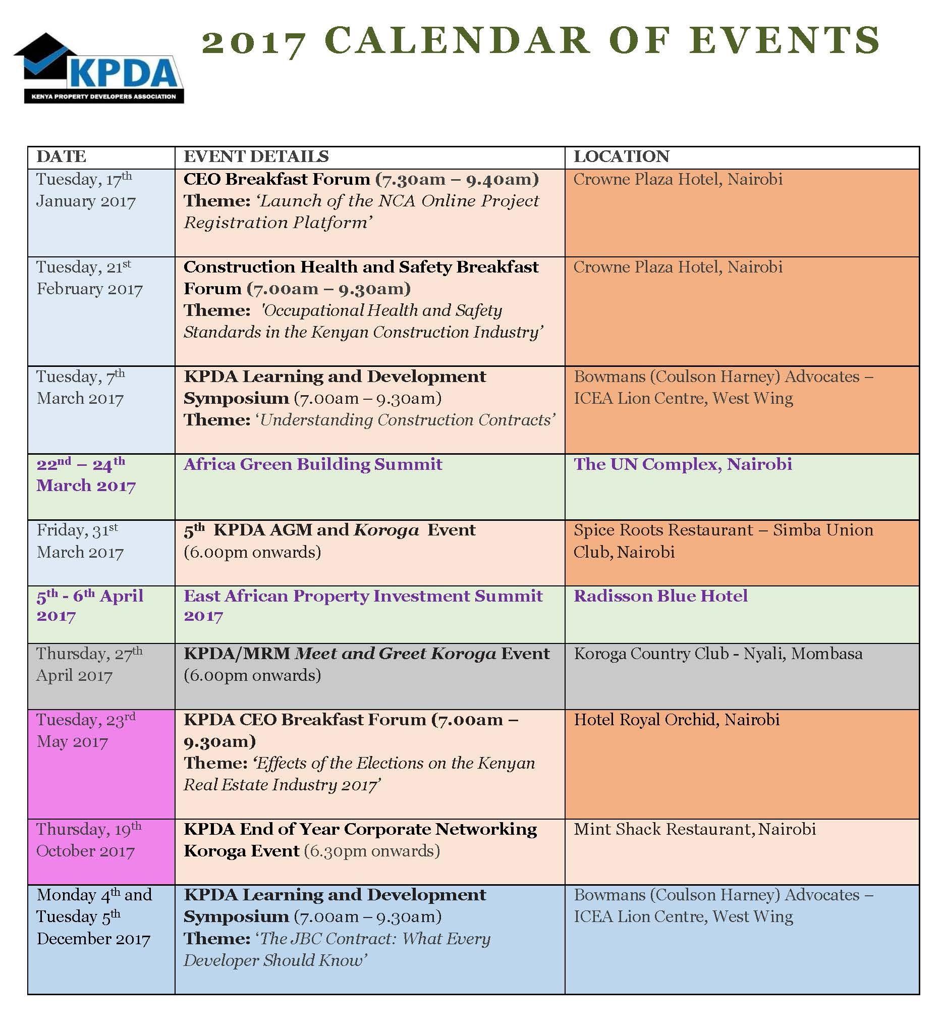2017 Kpda Calendar Of Events – Kenya Property Developers Association_Calendar Printing In Kenya
