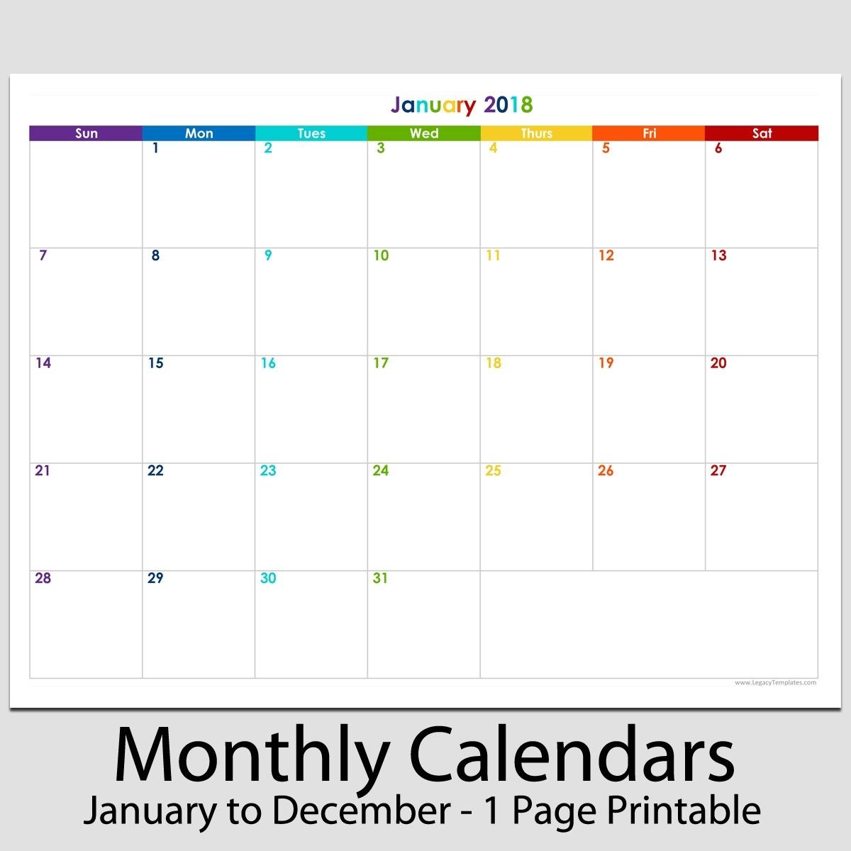 "2018 - 12 Month Landscape Calendar - 8 1/2"" X 11"" | Legacy Templates_8.5X 11 Blank Calendar"