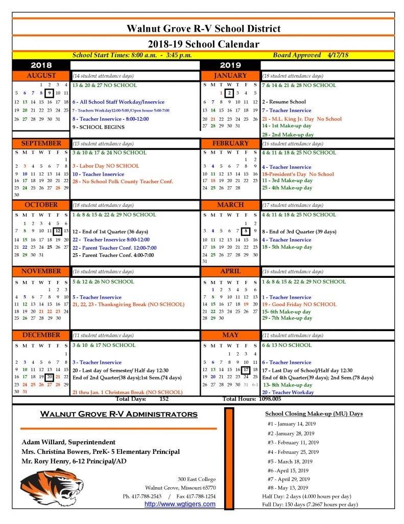 2018-19 School Calendar_Number 4 School Calendar