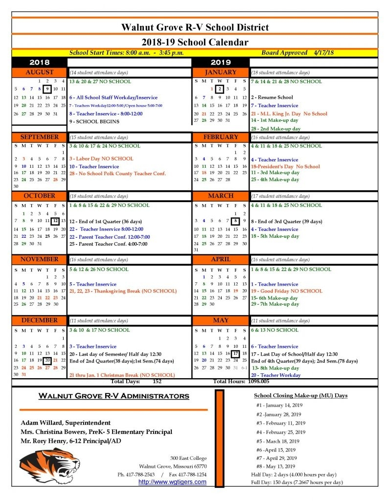2018-19 School Calendar_School Calendar Orange County