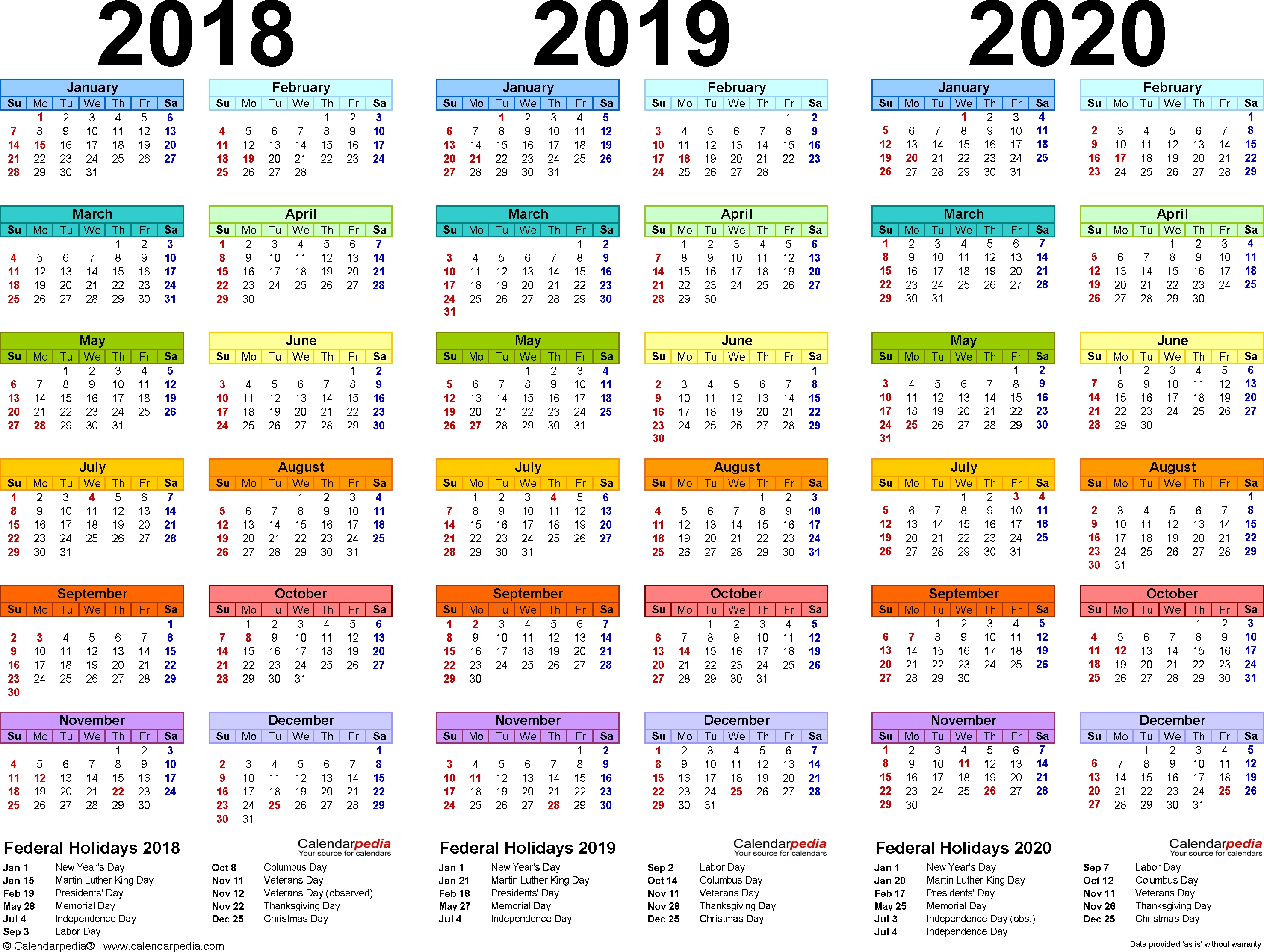 2018/2019/2020 Calendar - 4 Three-Year Printable Word Calendars_School Calendar For 2020 South Africa