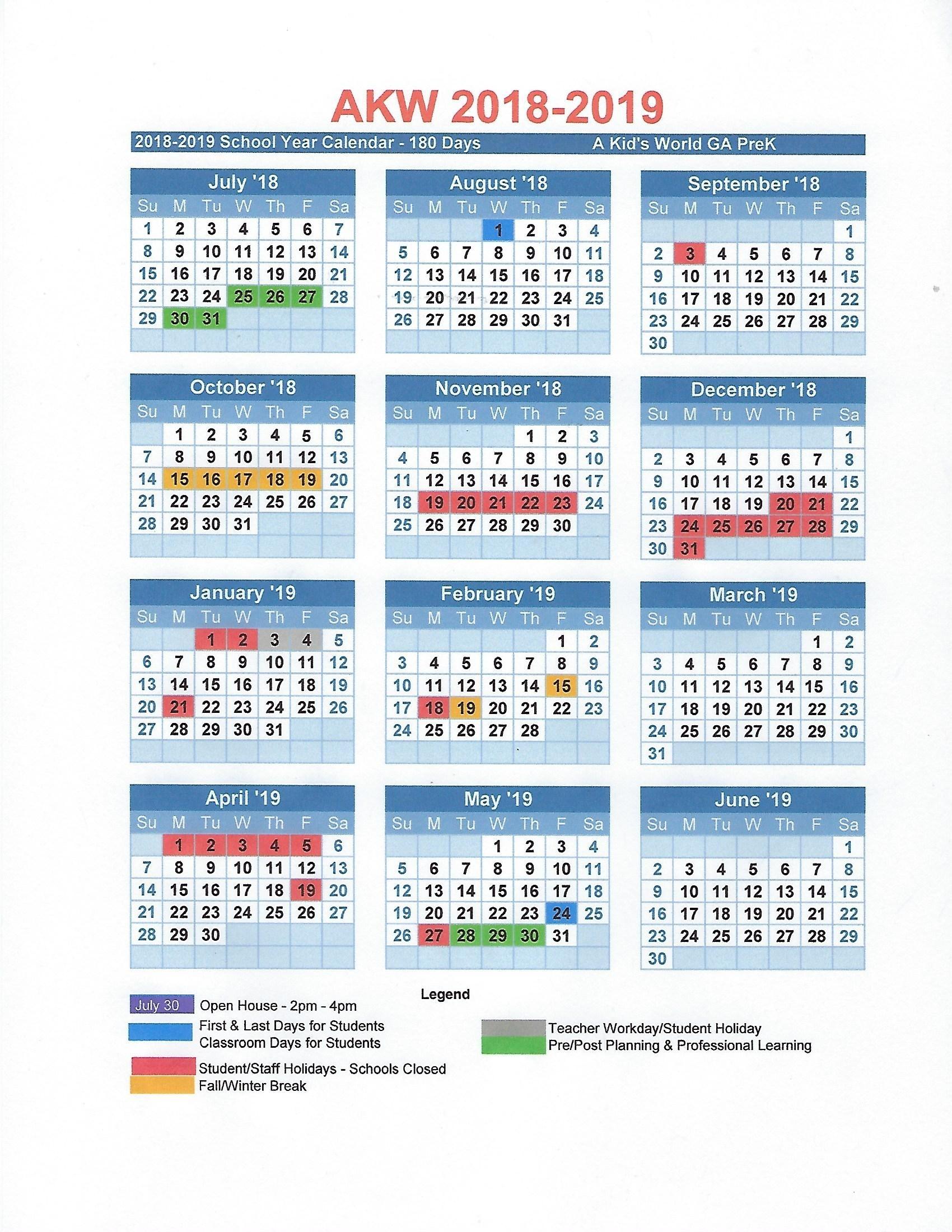 2018-2019 A Kid's World Pre-K Calendar - A Kid's World Christian_Pre K School Calendar