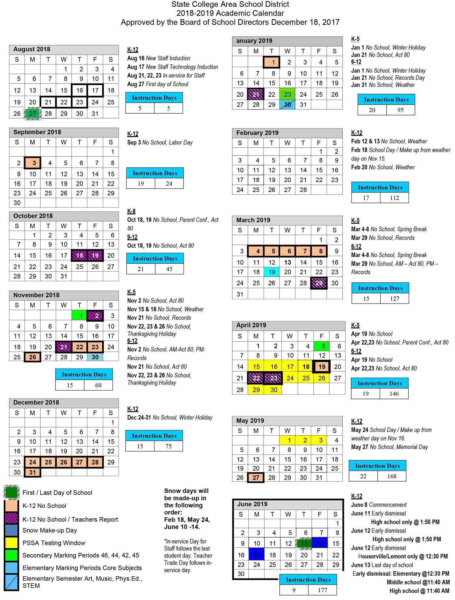 2018-2019 Academic Calendar_Nyc School Calendar 3018