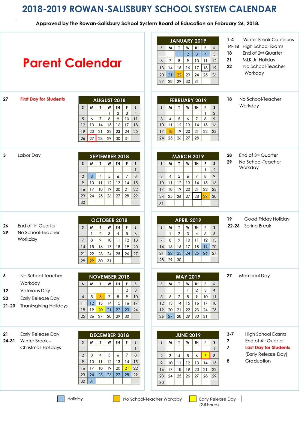 2018-2019 Calendars | Rss Post - Rowan-Salisbury Schools_District 7 School Calendar