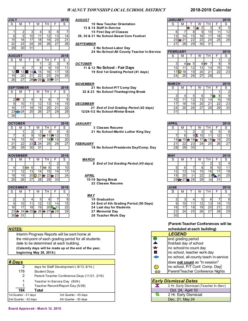 2018-2019 District Calendar - Walnut Township Local Schools_Calendar School District 42