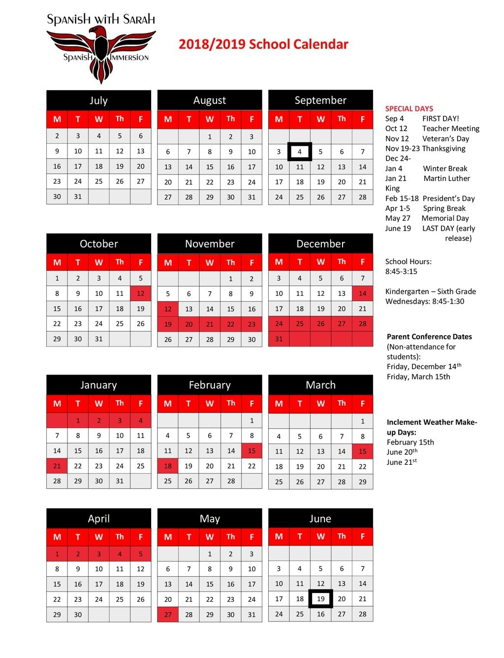 2018/2019 School Calendar July August September October November_T H Rogers School Calendar