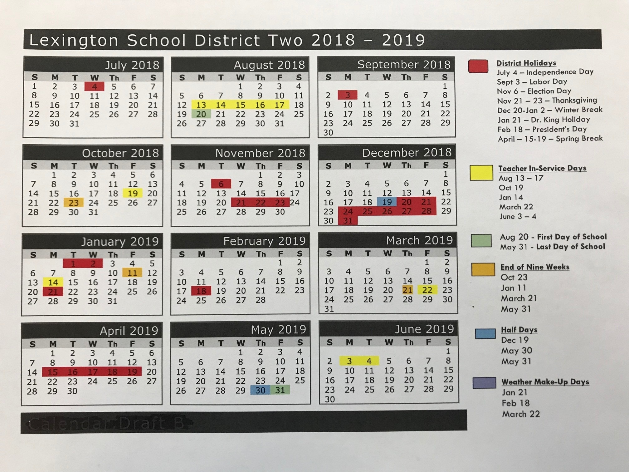 2018-2019 School Calendar – Parents – Airport High School_Lexington 2 School Calendar