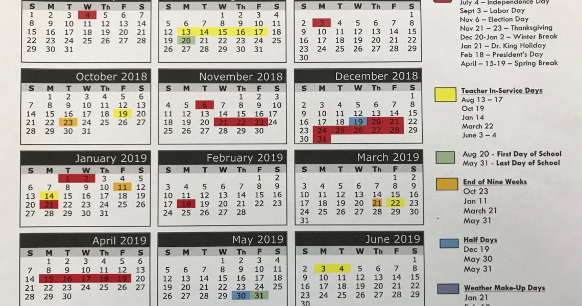 2018-2019 School Calendar – Parents – Airport High School_Richland 1 School Calendar