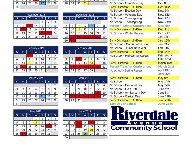 2018-2019 School Calendar – Riverdale Avenue Community School_Ps 6 School Calendar