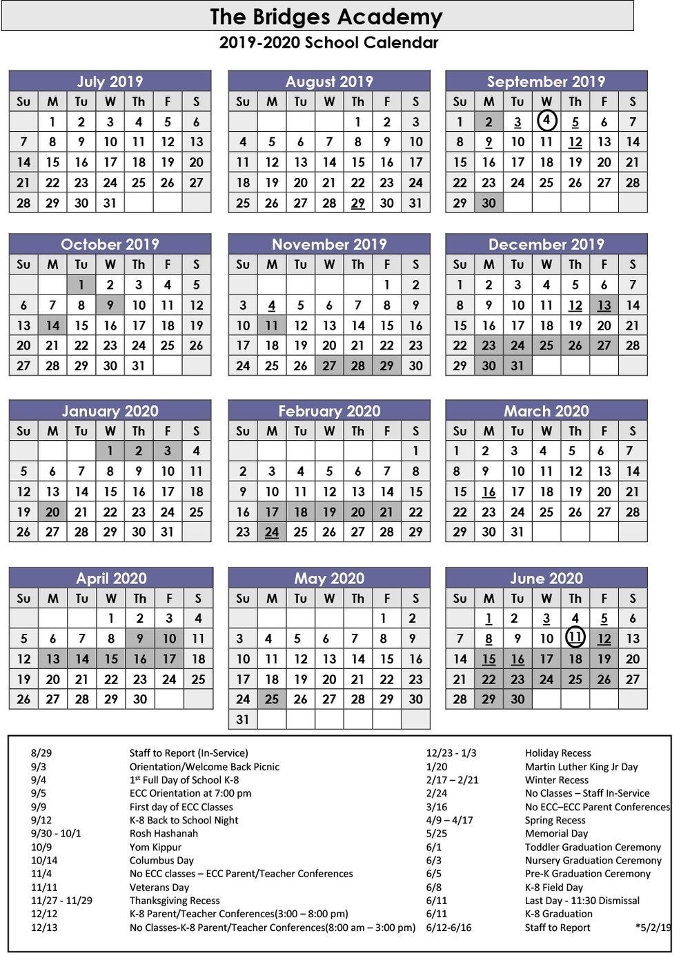 2018-2019 School Calendar — The Bridges Academy | Long Island_King K School Calendar