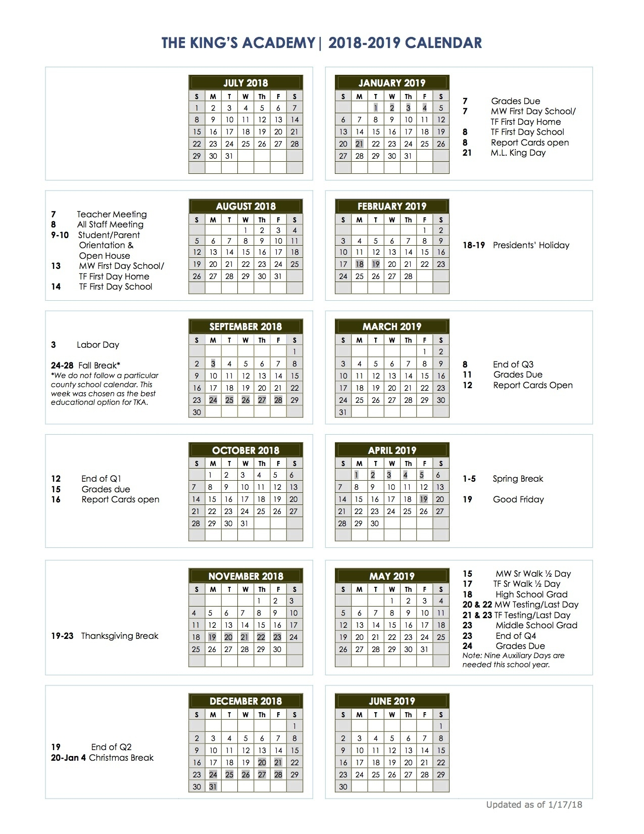 2018-2019 School Calendar - The King's Academy_School Calendar Florida 2020