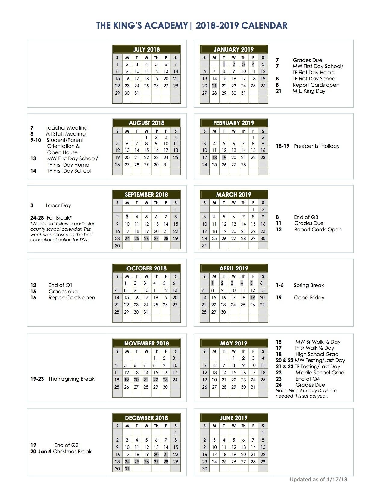 2018-2019 School Calendar - The King's Academy_School Calendar Vancouver Wa