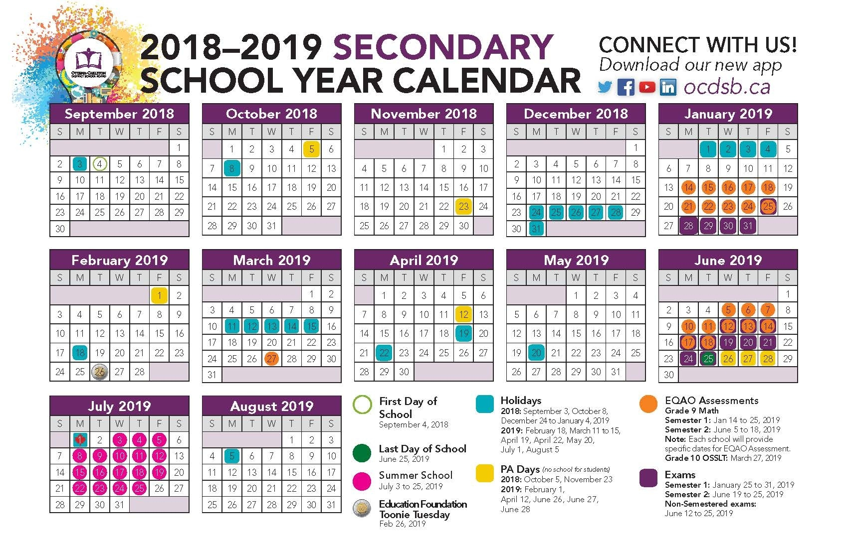 2018–2019 Secondary School Year Calendar_Ottawa U School Year Calendar