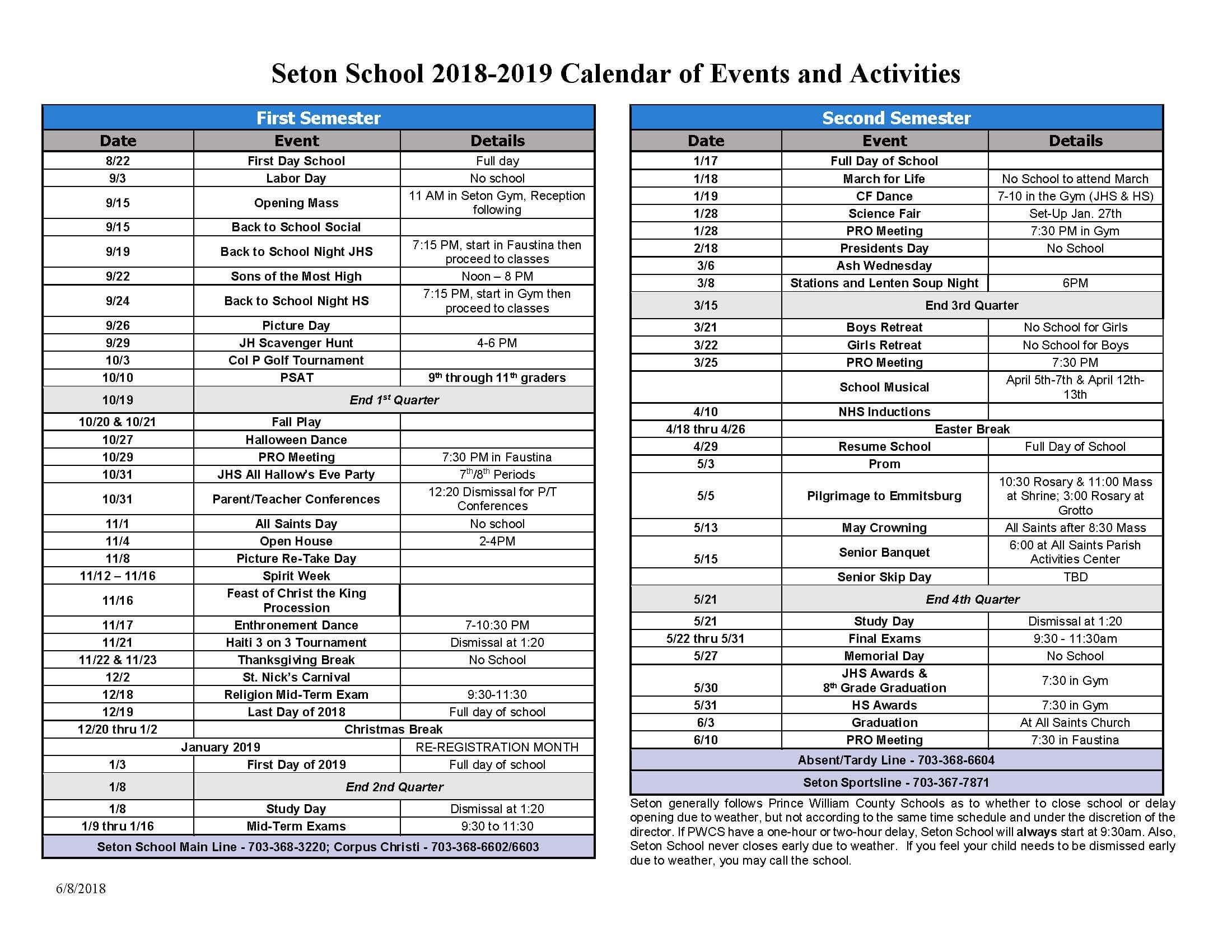 2018-2019 Seton School Calendar Of Events And Activities | Seton_School Calendar Of Events