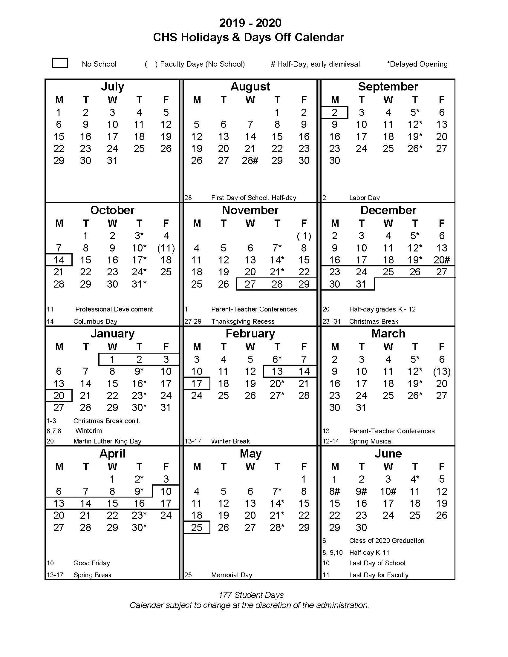 2019/20 School Year - Christian Heritage School_School Calendar Trumbull Ct