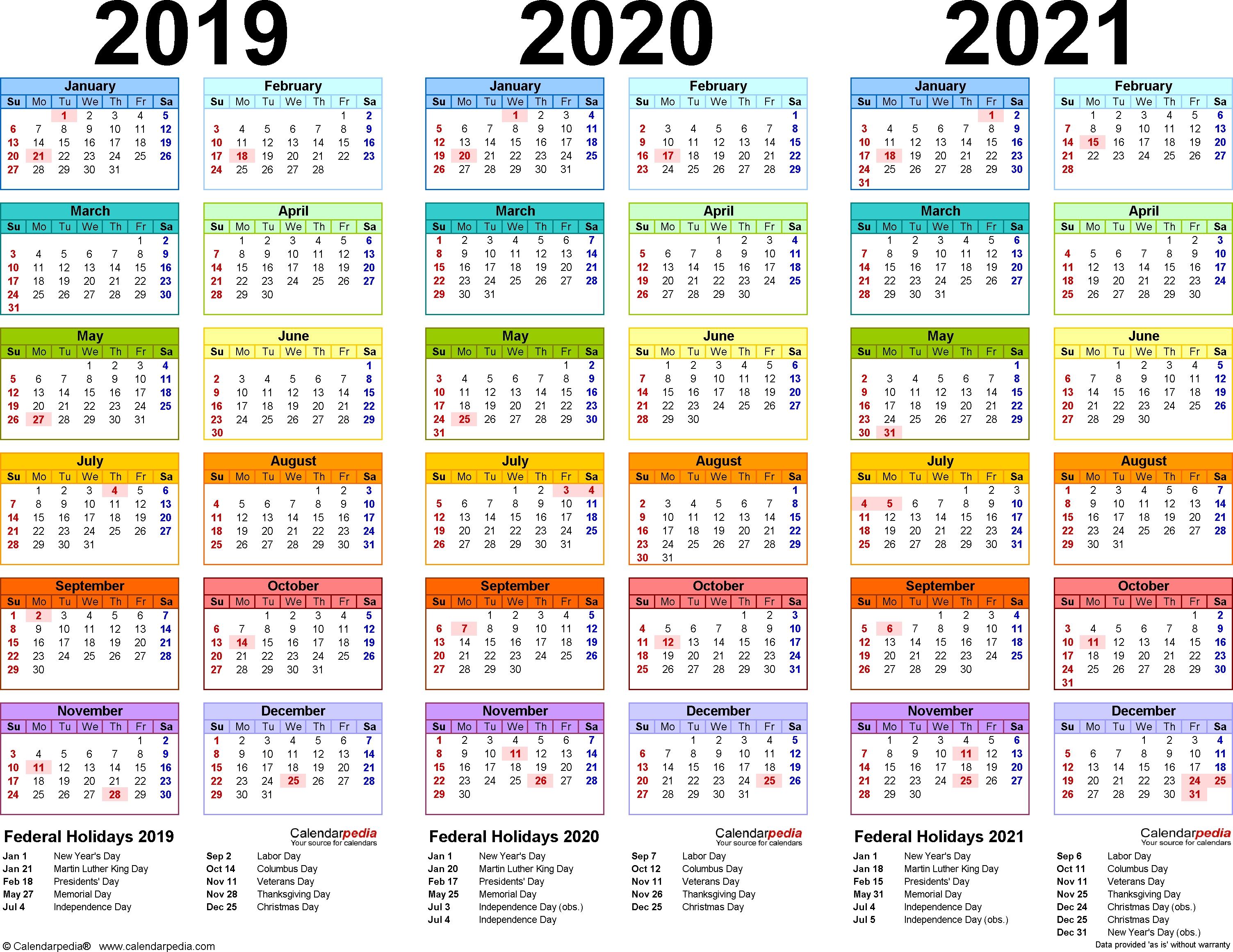 2019/2020/2021 Calendar - 4 Three-Year Printable Pdf Calendars_School Calendar Nz 2020