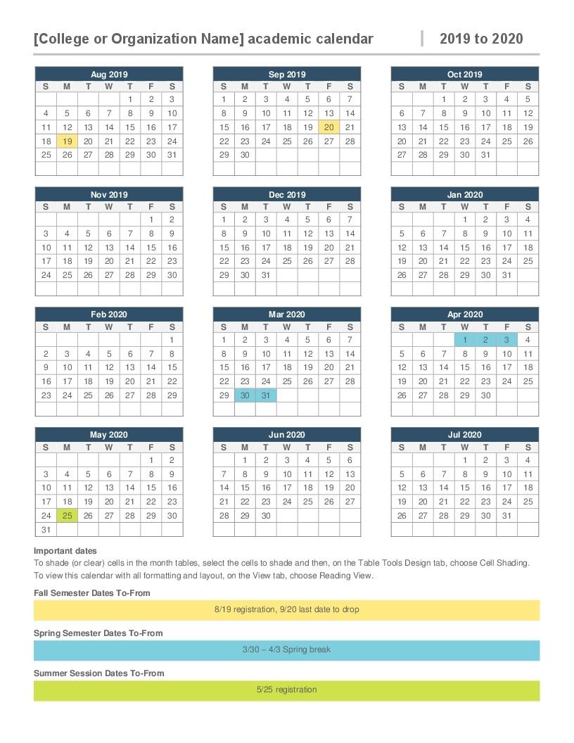 2019-2020 Academic Calendar_School Calendar 2020-18 Template