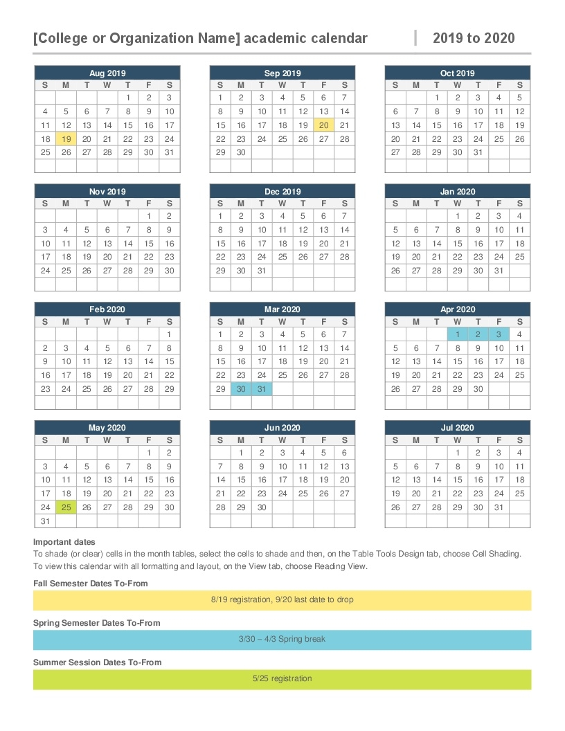 2019-2020 Academic Calendar_School Calendar For 2020-18