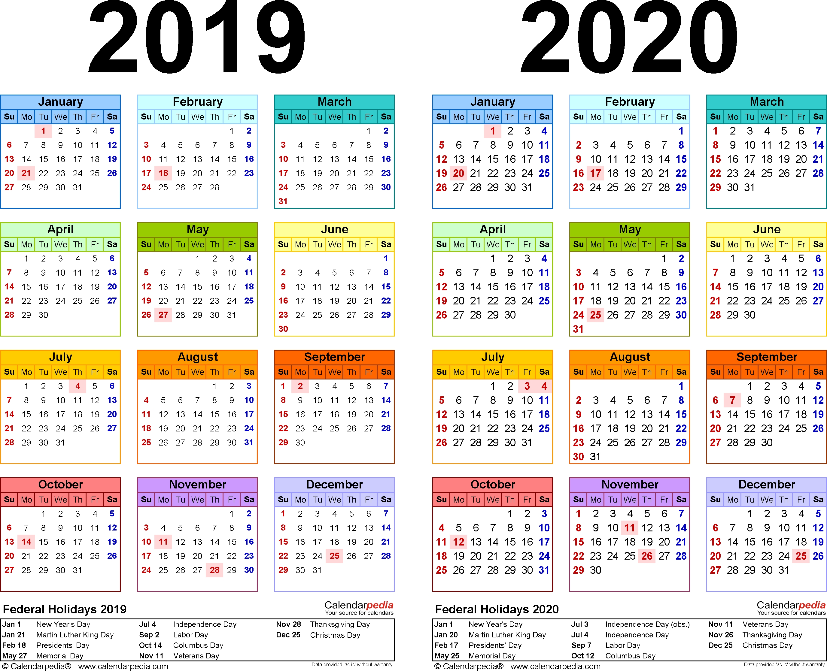 2019-2020 Calendar - Free Printable Two-Year Pdf Calendars_Blank Calendar Canada 2020