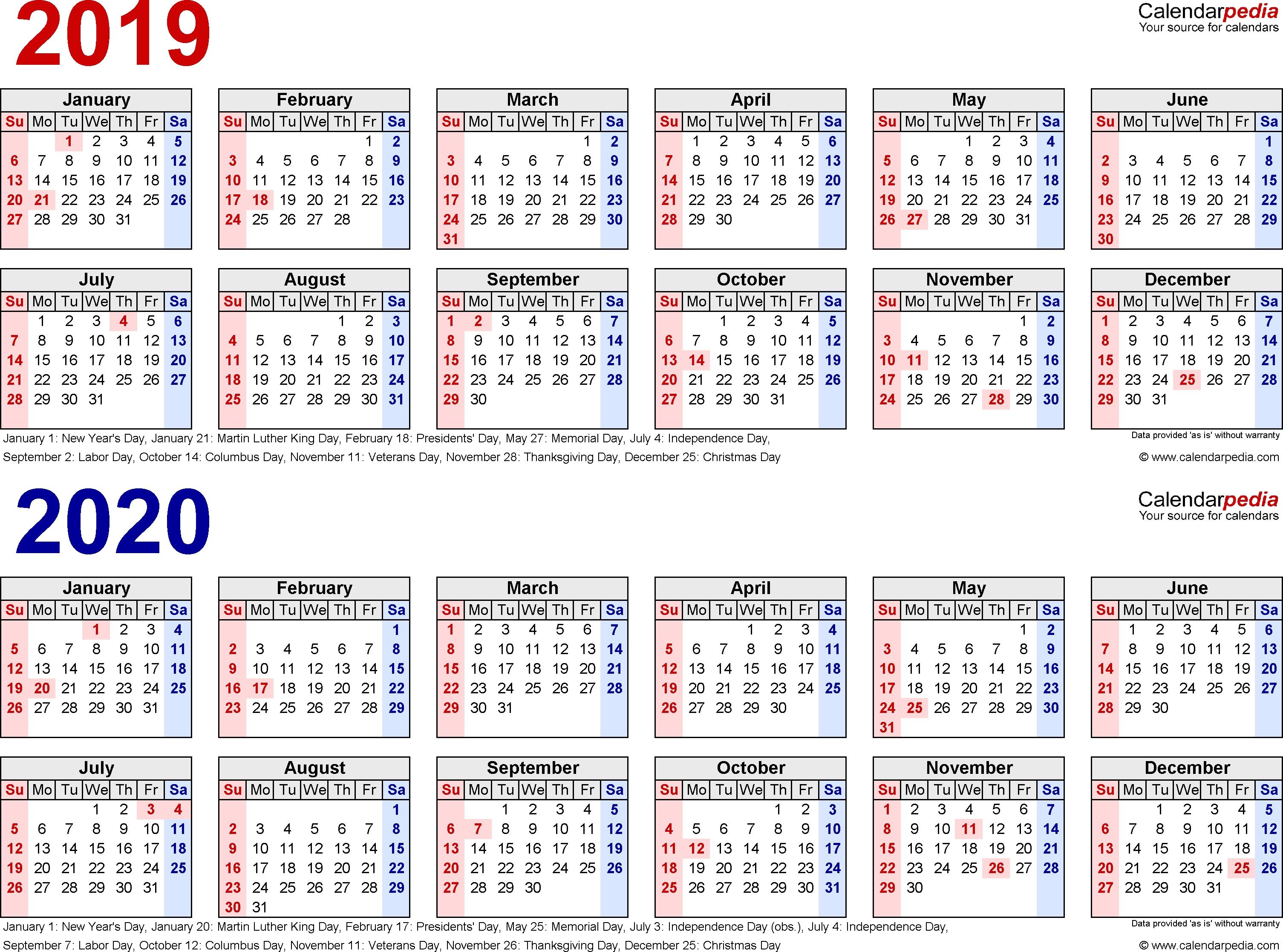 2019-2020 Calendar - Free Printable Two-Year Word Calendars_Calendar School Year 2020 Nyc